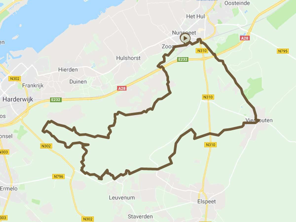 Mountainbikeroute Nunspeet Harderwijk Vierhouten